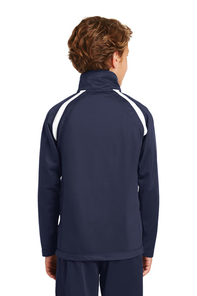 Sport-Tek YST90 Youth Full Zip Track Jacket Navy Blue Back