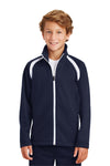 Sport-Tek YST90 Youth Full Zip Track Jacket Navy Blue Front