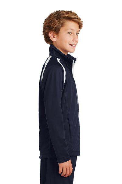 Sport-Tek YST90 Youth Full Zip Track Jacket Navy Blue Side