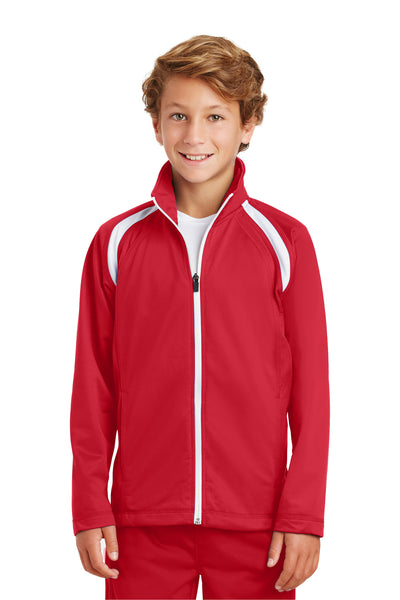 Sport-Tek YST90 Youth Full Zip Track Jacket Red Front