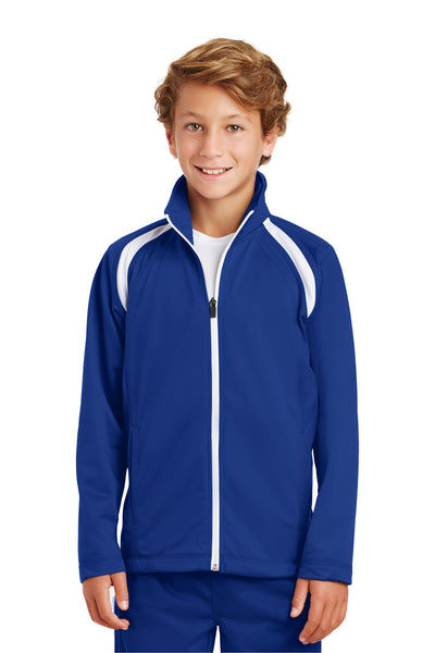 Sport-Tek YST90 Youth Full Zip Track Jacket Royal Blue Front