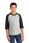 Sport-Tek YT200 Youth 3/4 Sleeve Crewneck T-Shirt Heather Grey/Black Front