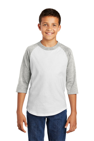 Sport-Tek YT200 Youth 3/4 Sleeve Crewneck T-Shirt White/Heather Grey Front