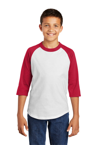 Sport-Tek YT200 Youth 3/4 Sleeve Crewneck T-Shirt White/Red Front