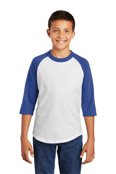Sport-Tek YT200 Youth 3/4 Sleeve Crewneck T-Shirt White/Royal Blue Front