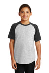 Sport-Tek YT201 Youth Short Sleeve Crewneck T-Shirt Heather Grey/Black Front