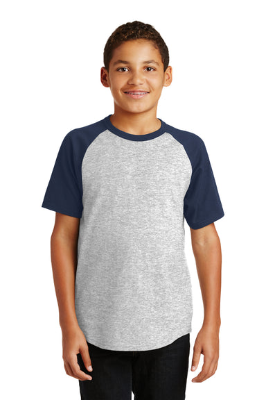 Sport-Tek YT201 Youth Short Sleeve Crewneck T-Shirt Heather Grey/Navy Blue Front