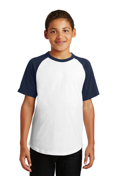 Sport-Tek YT201 Youth Short Sleeve Crewneck T-Shirt White/Navy Blue Front