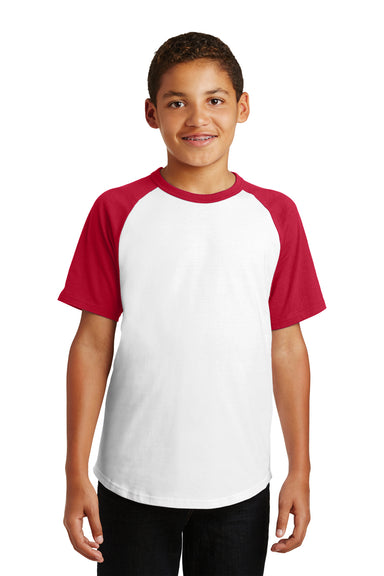 Sport-Tek YT201 Youth Short Sleeve Crewneck T-Shirt White/Red Front