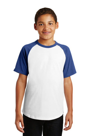 Sport-Tek YT201 Youth Short Sleeve Crewneck T-Shirt White/Royal Blue Front