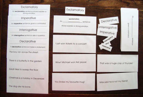 Kinds of Sentences - M&M Montessori Materials