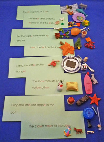 Phonogram Sentences & Objects Sets - M&M Montessori Materials