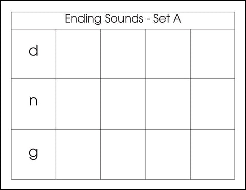 Ending Sounds Set A - M&M Montessori Materials