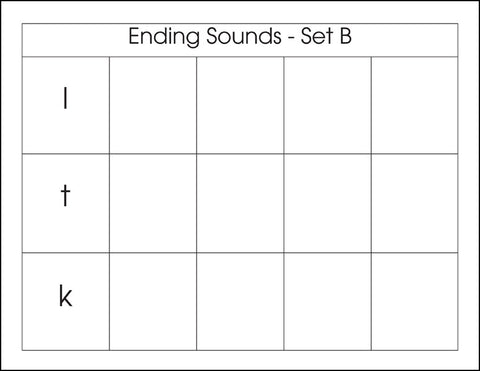 Ending Sounds Set B - M&M Montessori Materials