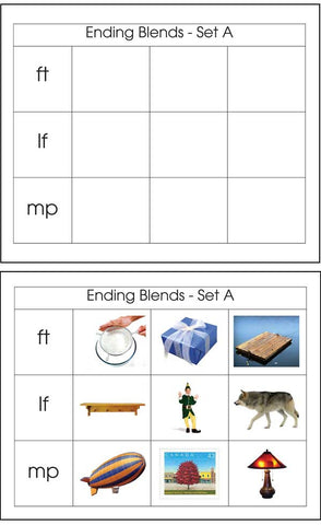 Ending Blends Set A - M&M Montessori Materials