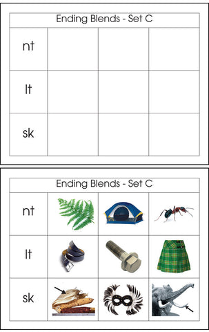 Ending Blends Set C - M&M Montessori Materials