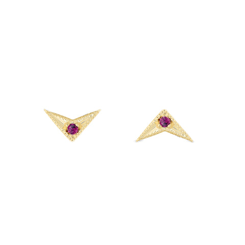Arrow Ruby Earrings 14k