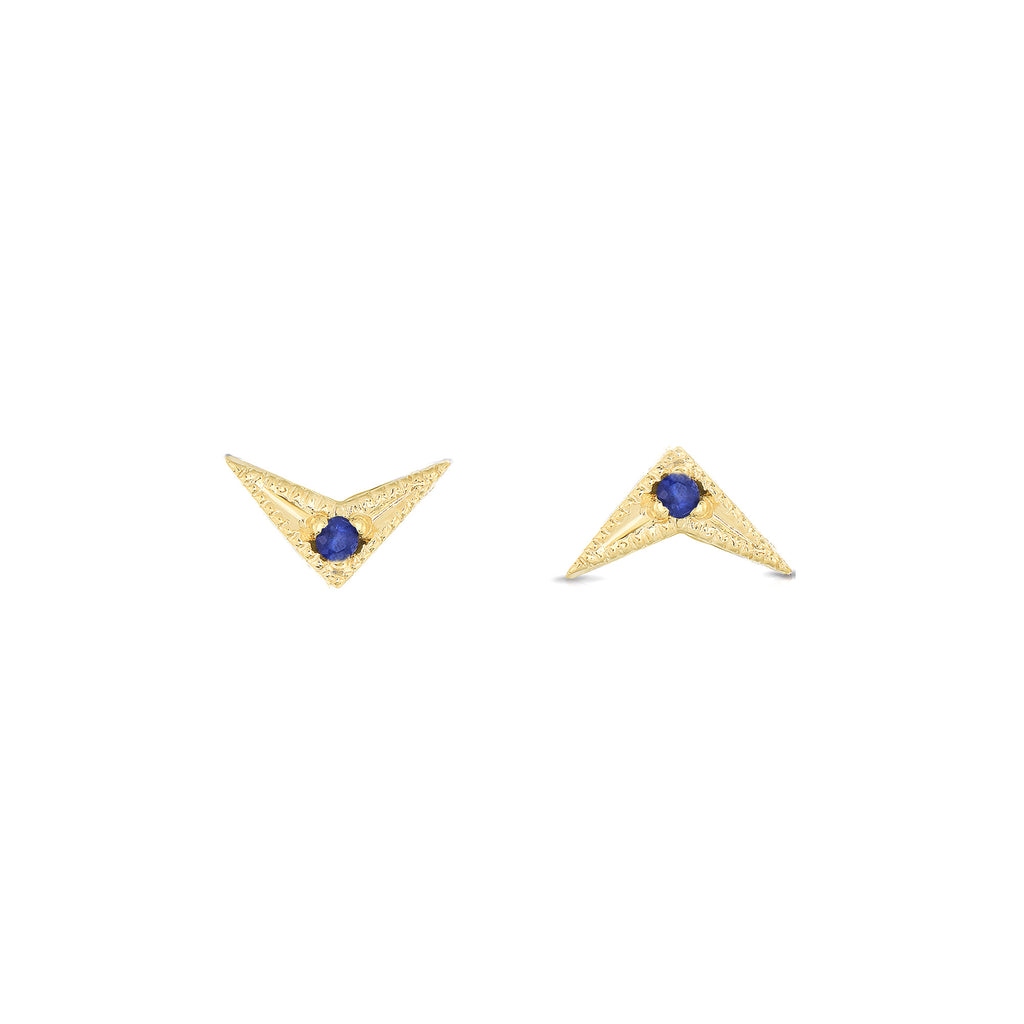 Arrow Blue Sapphire Earrings 14k