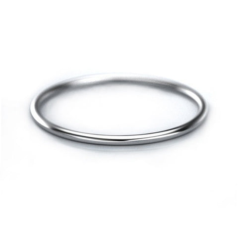 1mm Thin Gold Band - 14k White Gold