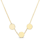 Petite Trinity Disc 14k Necklace - Engraving Optional