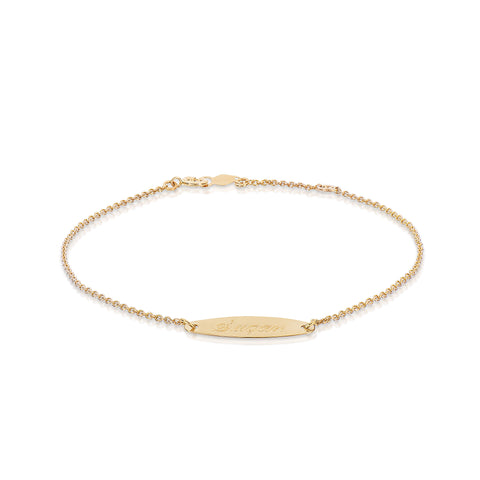 Kids Oval ID Bracelet 14k Gold