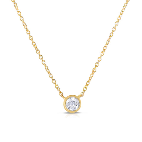 Diamond Solitaire Bezel Necklace .10 CT