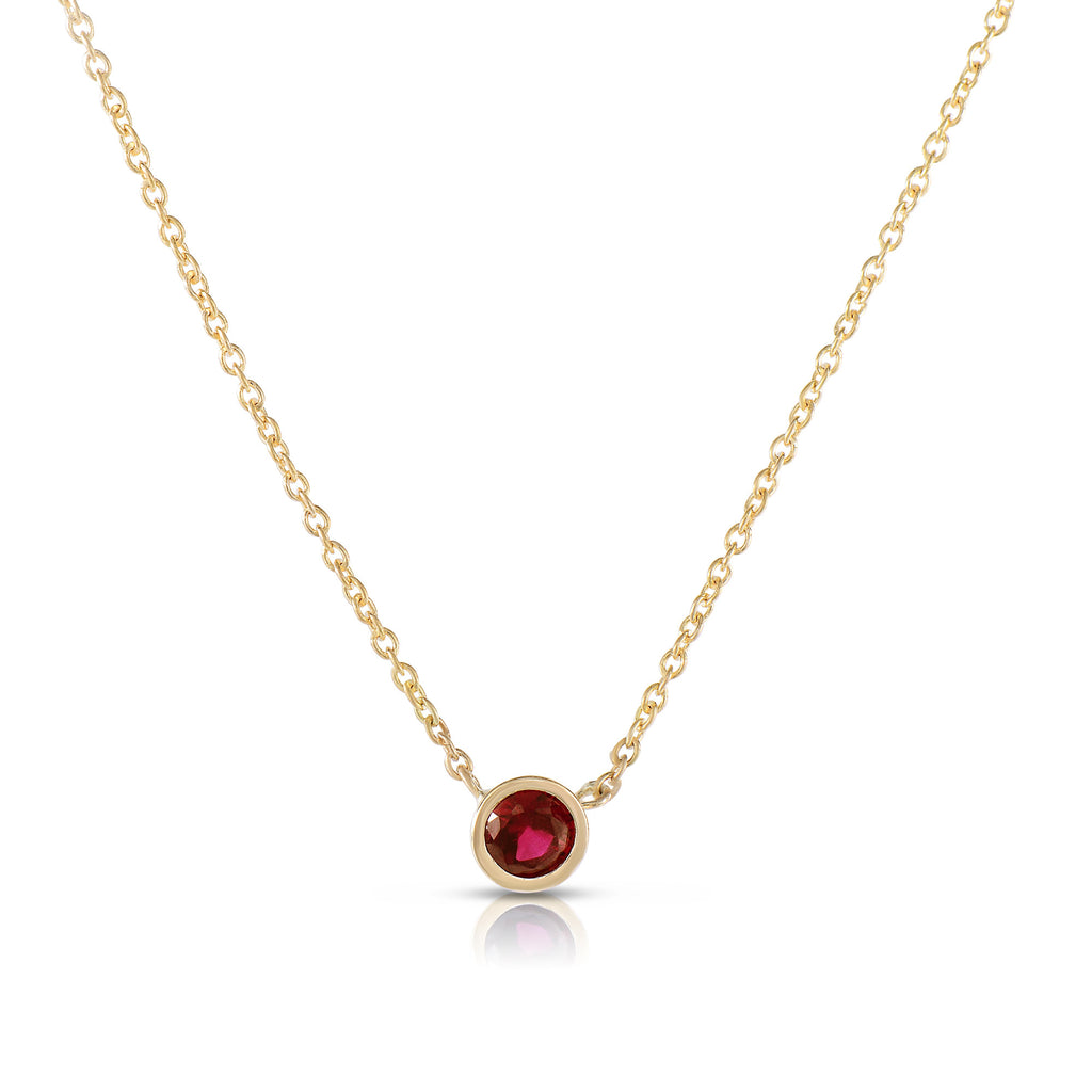 Ruby Solitaire Bezel Necklace