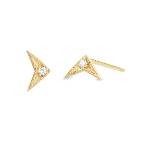 Arrow Diamond Earrings 14k
