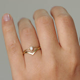 "Curved ""V"" Ring 14k - White Gold"