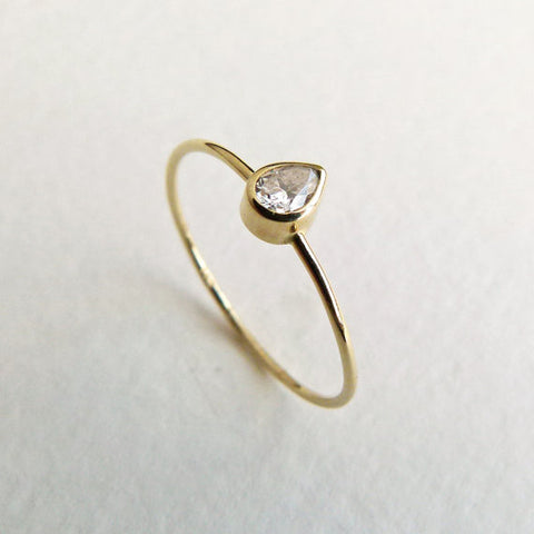 Skinny Pear Engagement Ring