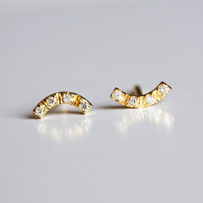 Mini Curve Diamond Earrings 14k