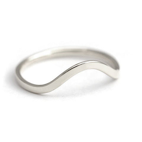 Curved Wedding Band 14k - White Gold