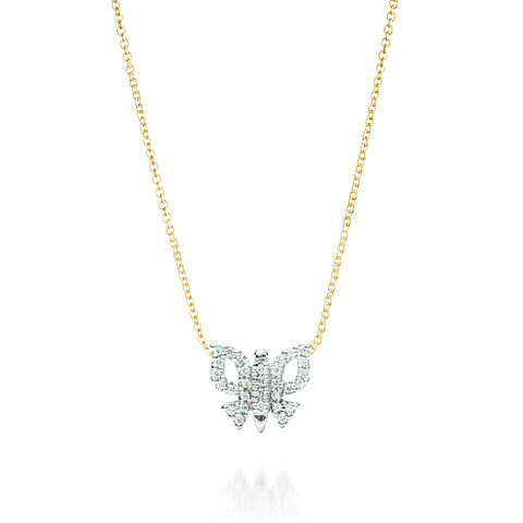 Diamond Butterfly Necklace 14K