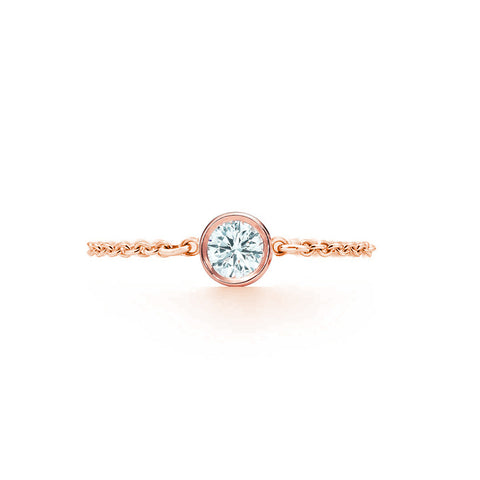 Diamond Chain Ring .10 CT - Rose Gold