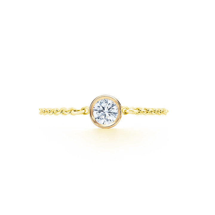 Diamond Chain Ring .10 CT - Yellow Gold