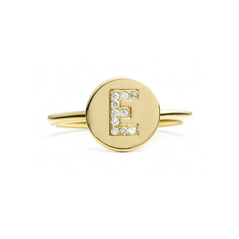 Diamond Initial Disc Ring 14k