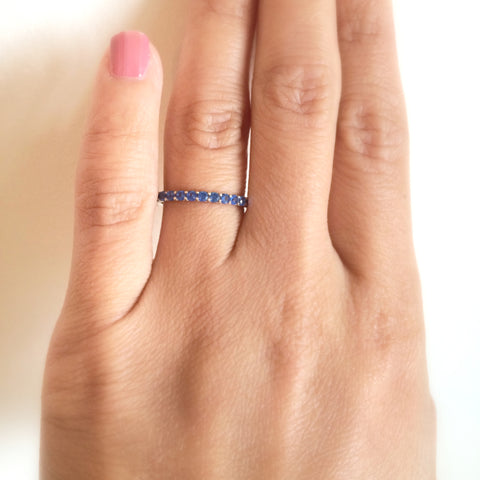 Blue Sapphire Eternity Band 1 CT