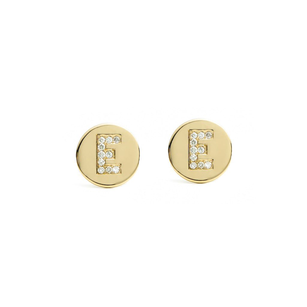 Mini Initial Disc Earrings 14k