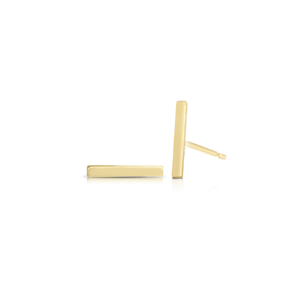 Linear Bar Stud Earrings 14k