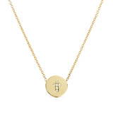 Diamond Cross Disc Necklace