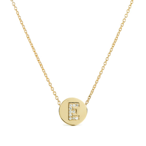 Diamond Initial Disc Necklace