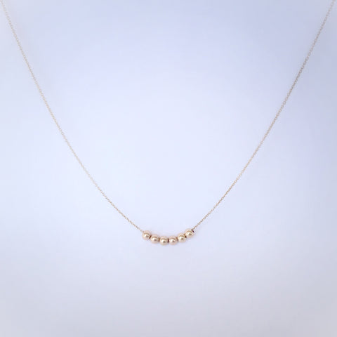 Dainty Bead Necklace 14k