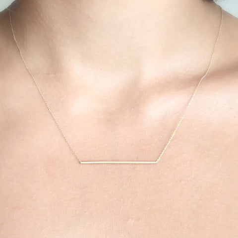 Skinny Tube Necklace 14k