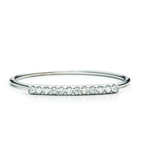 Diamond Bar Ring 14K - White Gold