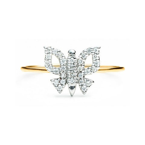 Diamond Butterfly Ring 14K