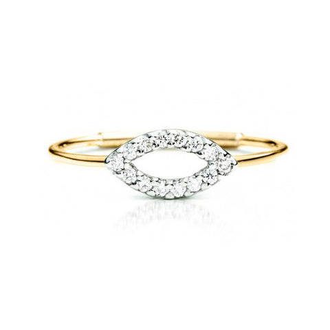 Diamond Leaflet Ring 14K