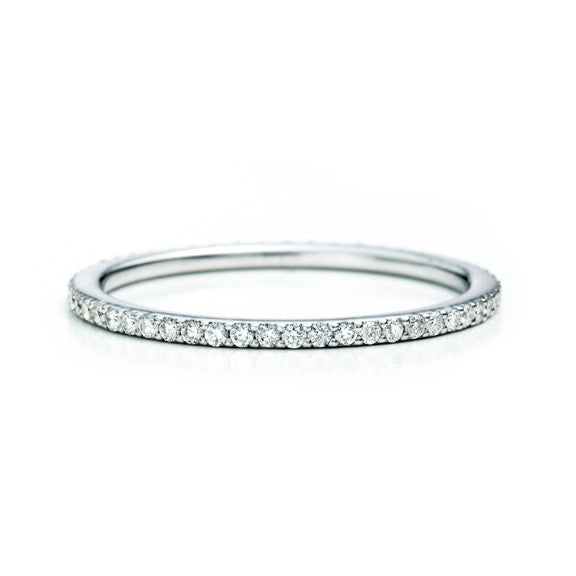Slim Micropavé Eternity Band 14K - White Gold
