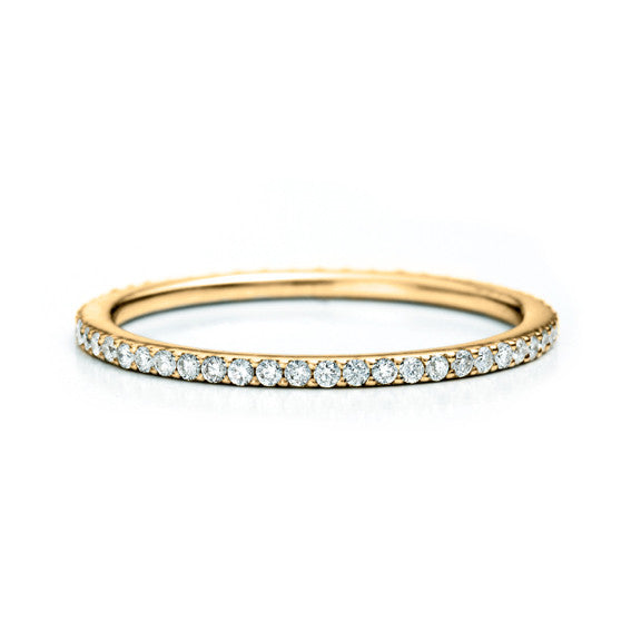 Slim Micropavé Eternity Band 14K - Yellow Gold