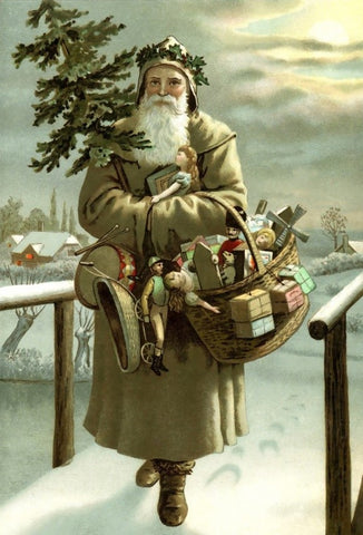 St. Nicholas walking through the snow during Christmas
