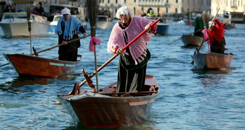 Venice gondolier during christmas